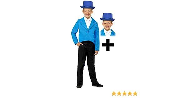 Top Hat Kids Fancy Dress Showtime Boys Girls Childs Costume Set Blue Tailcoat