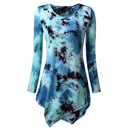 Bluse Mode Damen Herbst Krawatte Gefärbt Asymmetrische Tunika Tops Oberteil O-Ausschnitt Langarm T-Shirt Damen Langarmshirt Lose Hemd Übergröße Tunika -