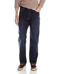 Izod Mens Comfort Stretch Relaxed Fit Jean, Dark Tint, 36x30