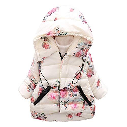 (Yanhoo-Kinder Daunenjacken Winterjacke Lange Verdickte Warme Kapuzenjacke Mädchen Jungen Floral Print Windproof Coat Jacke)