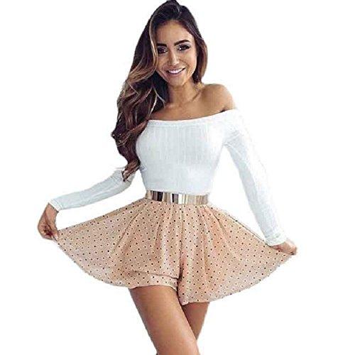 OVERDOSE Damen Ärmel Kurzarm Top Enge Sweater Knitting beiläufiges trägerloses T-Shirt (S, Weiß)