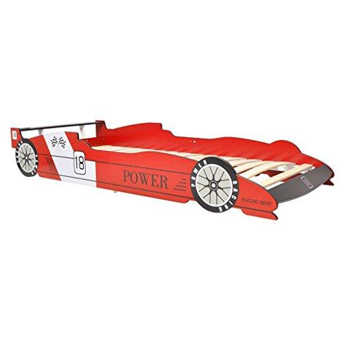 vidaXL Cama Infantil con Forma de Coche de Carreras para Niños 90x200cm Roja