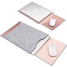 GENORTH® Filz Sleeve Hülle Ultrabook Laptop Tasche für MacBook Air & Macbook Pro 13,3 Zoll, MacBook Pro Retina 13 Zoll Hülle mit Geschütztes Inneres und Externes Mousepad (Rose Gold)