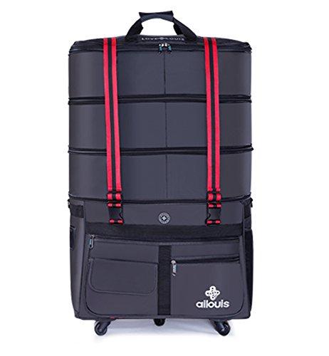 ailouis 36 Zoll Tasche Reisegepäck Handgepäck Ausbaufähige 88*55*32CM mit Rollen Reisetasche Große Kapazität Männer (Bag Wheeled Travel)
