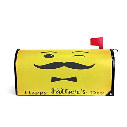 Wamika Vatertag Emoji Briefkasten-Abdeckung, wetterfest, magnetisch, verblasst Nicht, wetterfest, gelbe Schnurrbart Schleife, dekorative Briefkastenfolie, 64,7 x 52,8 cm