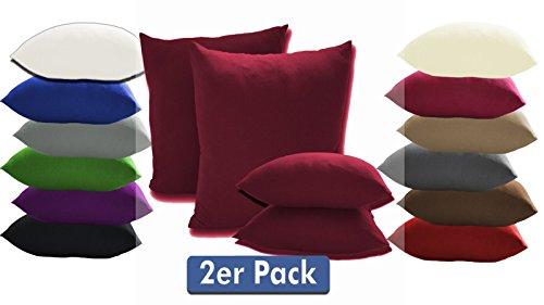 Confezione di 2 federe per cuscini con cerniera, 100% cotone, disponibili in 12colori moderni e 4misure, Tessuto, rosso bordeaux, 40 x 40 cm