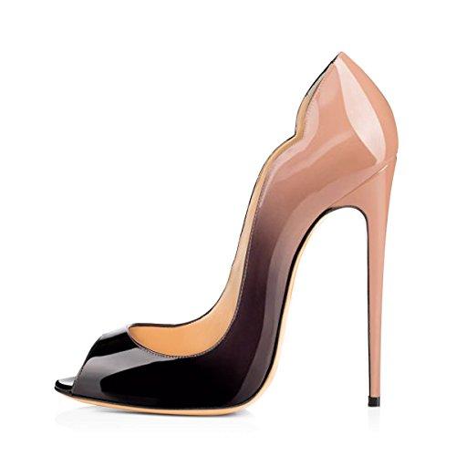 Damen Fashion Open Toe Freie Toe Slip-on Pumps Hohe Absatz Extreme Stiletto Komfort Schwarz Lady Schuhe Schwarz und Pink EU35 (Womens Strass Pink)
