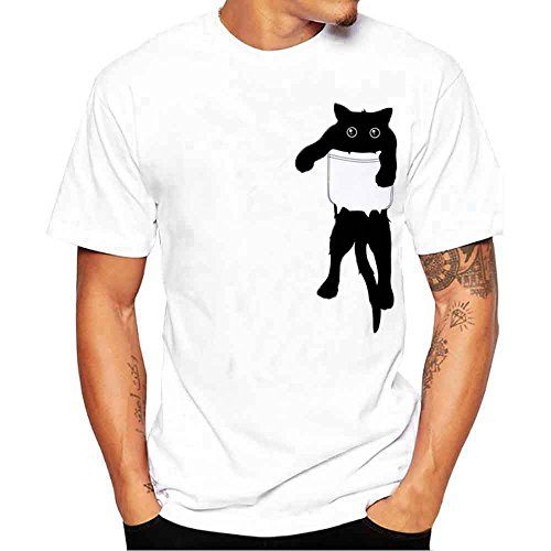 (iLPM5 Hemd Herren SommermodeHerren Oansatz T-Shirt Loose Fit Lässige Sommer Pullover T-Shirts (Weiß, CN-3XL / EU-XL))