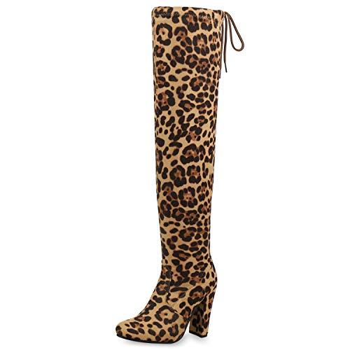 SCARPE VITA Damen Overknees Stiefel Wildleder-Optik High Heel Langschafstiefel 171527 Leopard ()