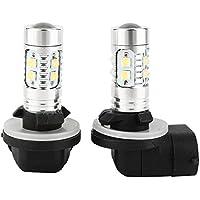 Qiilu 1 par Bombillas LED para Luz Antiniebla de Coche -H27 881 50W LED Faros antiniebla