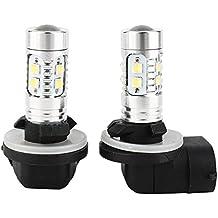 Qiilu 1 par Bombillas LED para Luz Antiniebla de Coche -H27 881 50W LED Faros