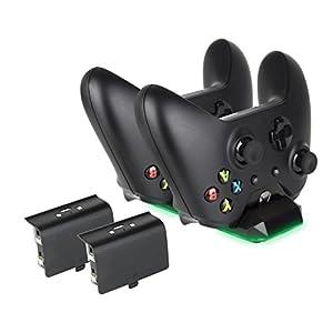 Dual Lade Controller, Megadream für Xbox One Zubehör Wireless Controller Docking Ladestation mit 2 x 300mAh Akku für…