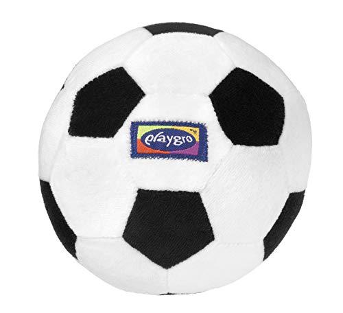 Playgro Mein erster Fußball, Mit integrierter Rassel, Ab 6 Monaten, My First Soccer Ball, Schwarz/Weiß, 40043 (Fußball Plüsch)