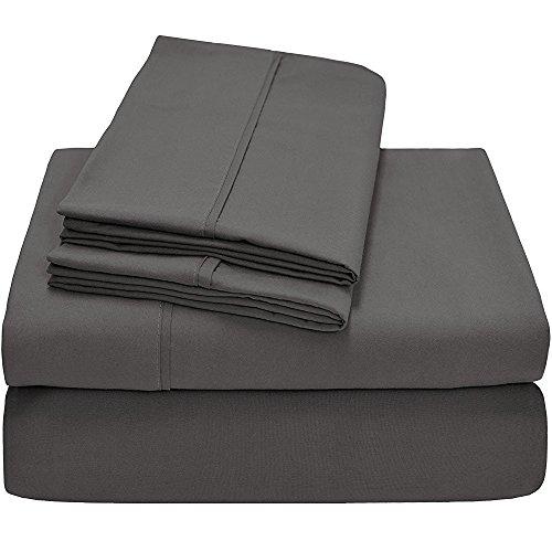 Baumwolle Queen-size-blatt-sets (rajlinen 4PCS Bed Sheet Set Queen Size Bland langlebiger Qualität Echtes 1000-thread-count (38,1cm Taschen) Super Rich Ägyptische Baumwolle, baumwolle, dunkelgrau, Queen)