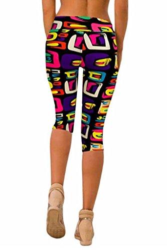qutool Femme Tartan Active Sport Capri Leggings stretch Drap-housse Collants de Course à Pied pour Femme Sport Pantalon pour Homme Geometrical