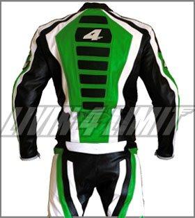 Tuta-di-Pelle-per-motociclista-Giacca-e-Pantaloni-motivo-Kawasaki-colore-verde