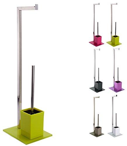 """MSV 141321 Bad Serie \""""SYDNEY\"""" Stand WC Garnitur aus Edelstahl und Glas mit herausnehmbaren Innenbehälter für die WC Bürste, Grün, ca. 22 x 18 x 70,5 cm"""