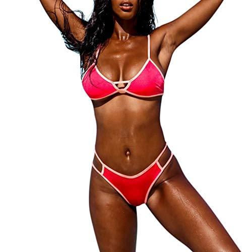 SuperSU-Bademode►▷Sommer Damen Sexy Mode Push up Bikinis Einfarbig Triangel Bikini Frenulum Spleiß Badebekleidung Zweiteiler Frauen Lässiges Urlaub Strand Split Badeanzug Beachwear