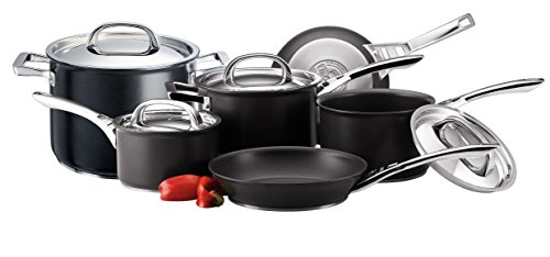 Circulon Infinite Hard Anodised Cookware Set with Stock Pot, 6-Piece - Black