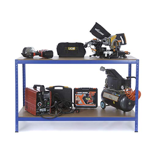 Werkbank, 2 Ebenen, 600kg Tragkraft, robust, für professionelle Werkstatt oder zu Hause, Tisch 900mmx 500mmx 600mm (HxBxT)