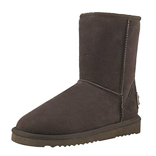 Shenduo Damen Kunstfell Stiefel Halb Schlupfstiefel Winterschuhe Klassisch Boots DV5825 Schokolade 38 - Lammfell-stiefel Schokolade