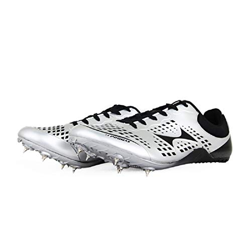 DDSHYNH Run Shoes, Men Women College Entrance Examination Track And Field Spikes Studenti Matches Scarpe da Corsa per Unghie,Silver,EUR39