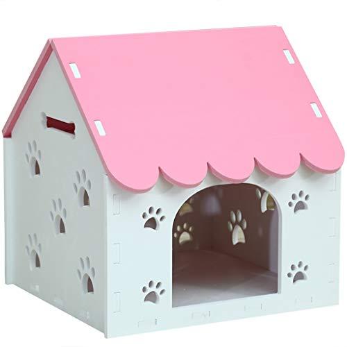 JOYZD Zwinger Hundehütten Zwingerabdeckungen Wetterfeste Hundehütte Katzenstreu, Haustierbedarf innen und außen Hundehütte, Hundehütte waschbar Hundehütte (Color : Pink, Size : 64 * 52 * 67cm)