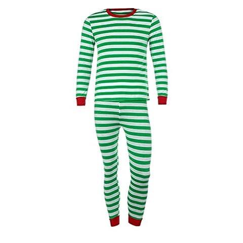 Gaddrt Frauen / Männer Paar Familie Matching Weihnachten Pajamas Set Bluse + Santa Striped Hosen Outfits Kleider Set (L, Grün)