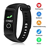Kombel Fitness Armband mit Pulsmesser Wasserdicht Farbbildschirm,Fitness Tracker Farbdisplay mit Trainingsmodi Wettervorhersage Schlafmonitor SMS IP67 Wasserdicht Kompatibel mit iPhone Android Handy