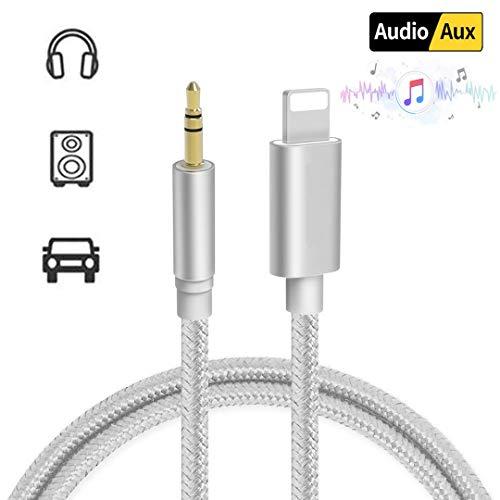 DAEETO Auto AUX Kabel für iPhone zu 3,5 mm Auto AUX-Kabel Kopfhörer-Adapter kompatibel für iPhone XS/XS Max/X / 8/8 Plus / 7 / 7Plus iPod iPad,Kopfhörer, Stereo,Lautsprecher (Silber-1m-Nylon)