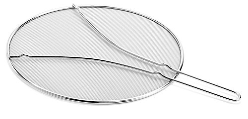 Cucinare Splatter Screen Guard with Double Thick Mesh for Cooking, Stainless Steel with Finest Woven Mesh and Resting Feet