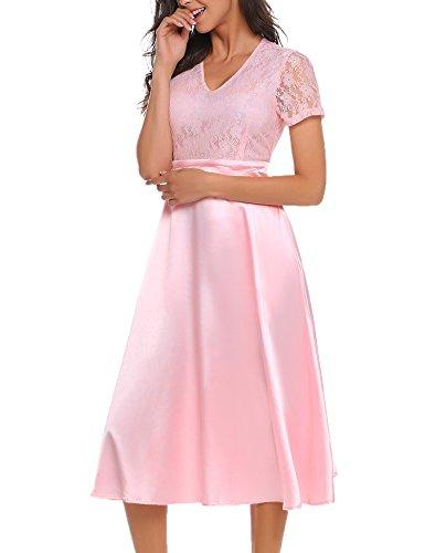 ACEVOG Damen Elegant Retro Vintage Rockabilly Kleid Spitzenkleid Abendkleid Cocktailkleid Partykleid A Linie Swing Kleider Festlich Knielang Weinrot Blau Rosa Gr.S-XXL Pink