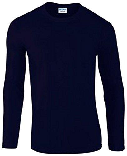 Gildan Langarm T-Shirt Aufdruck? Blau - Navy