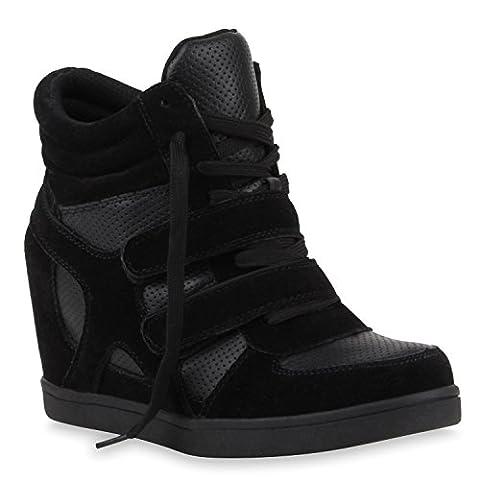 Sportliche Damen Basic Sneaker-Wedges Bequeme Sneakers Keilabsatz Schuhe 117677 Schwarz 37 |