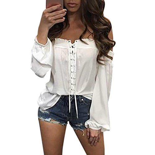 Ularma Damen Off-Shoulder Lang Ärmel Chiffon Loose Fit Bluse Tops T-Shirt Weiß