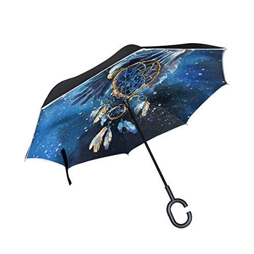 CPYang Paraguas invertido Tribal atrapasueños Doble Capa Paraguas Reflectante Resistente al Viento para Coche al Aire Libre Viajes