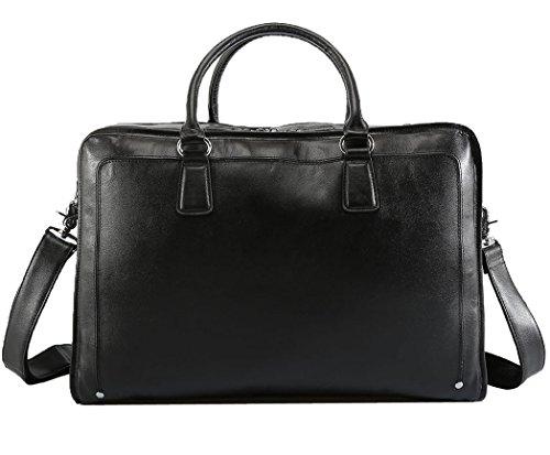 Herren Napa Leder (Polare Herren Weiches Echtes Napa Leder 43,9cm Aktentasche Laptop Business Tasche Schwarz)