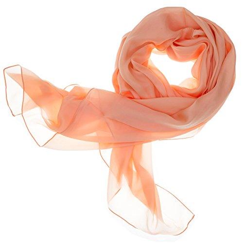 DOLCE ABBRACCIO Lady Sunshine Damen Seidenschal Schal Halstuch Tuch Stola aus feinstem Chiffon mit Seide (Pfirsich)