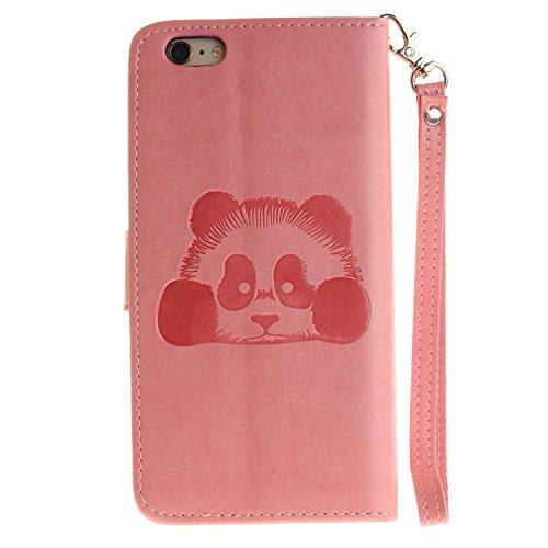 Custodia iPhone 6s Case, SsHhUu Cover Portafoglio in Vera Pelle [Carta Fessura] [Magnetica Chiusura] con Penna Capacitiva e Lanyard per Apple iPhone 6 / 6s (4.7) Grigio Rosa