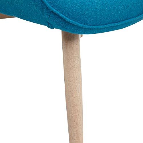 Designer Ohren-Sessel petrol mit Armlehnen aus Wolle blau | Anjo | Blauer Club-Sessel im Retro-Design mit Gestell in Holz | Moderner Wohnzimmer-Sessel auch als Relax-Sessel zu benutzen - 8