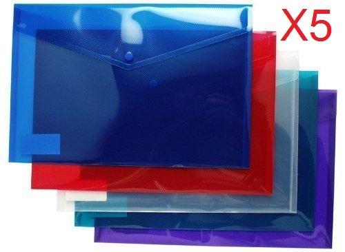 Bereich Großhandel von A3sortiert Farben-Kunststoff Ordner Dokumententaschen Poppers 5Stück