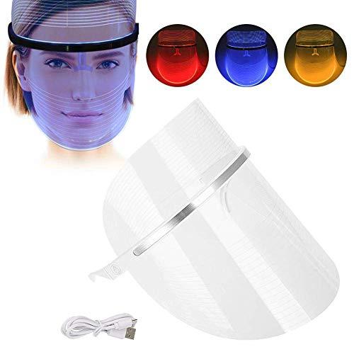 Máscara facial 3 colores luz LED roja azul amarilla
