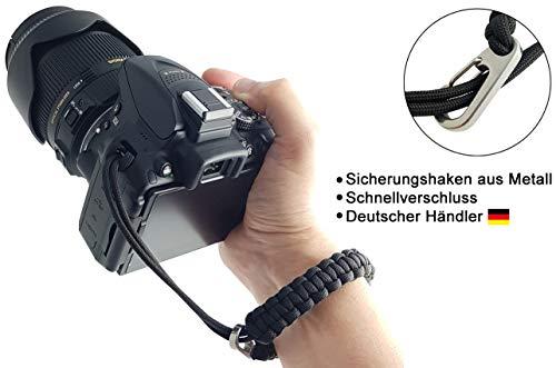Paracord Kamera-Handschlaufe | SCHWARZ | DSLR SLR Kompakt-Kamera Handgelenkschlaufe Kameraschlaufe Kameraband Trageschlaufe Armband | MIND CARE ESSENTIALS