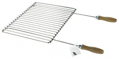 Edelstahl Grillrost mit verstellbarer Breite 40-55X30cm mit Holzgriffen, Verstellbarer Grillrost, Grillrost Rostfrei