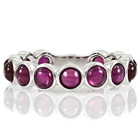 Silvertone Eternity Ring - Pink CZ