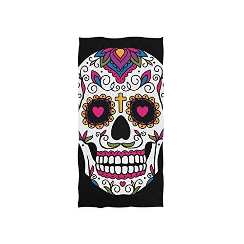 DOSHINE Toalla de algodón Absorbente, diseño de Calavera Mexicana, Multiusos, para baño, Playa, Gimnasio, Deporte, SPA, 15 x 30 Pulgadas