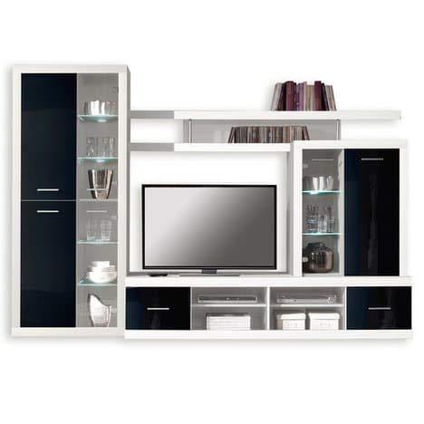 ROLLER Wohnwand CAN CAN 4 LUX – weiß-schwarz – Glasfronten - 2