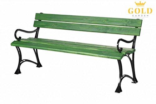 Banc de jardin vert en bois et aluminium 150cm avec accoudoirs
