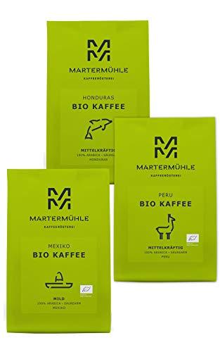 Martermühle Premium Bio Kaffeebohnen Probierset 3er Pack (3 x 250g)