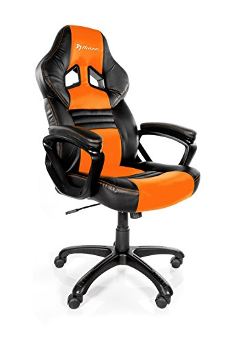 41HUzzhkDTL - Arozzi Monza Orange - Silla (Negro, 150 kg, 125 cm, 115 cm, 53 cm, 51 cm)